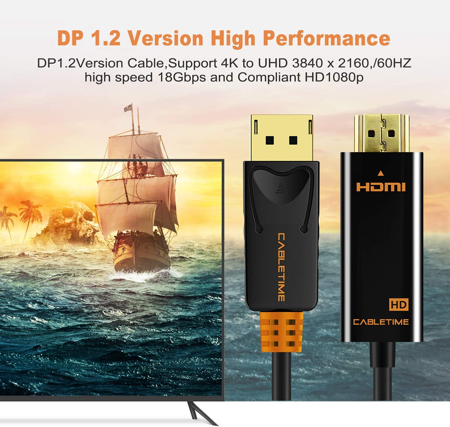CABLETIME Display Port to HDMI Adapter 3 FT// 1M HD 1080P DP to HDMI Male to Male Cable Compatible for Lenovo Dell HP and Other Brand