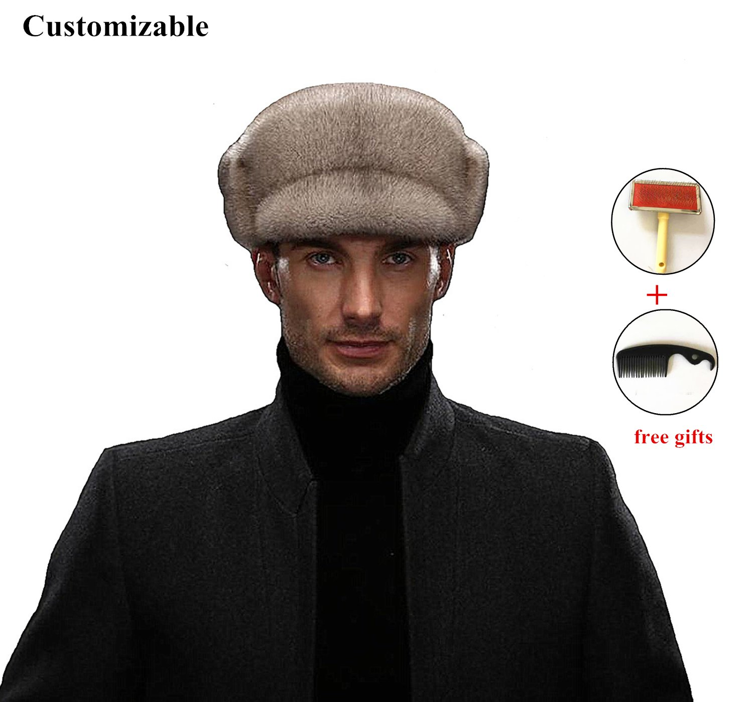 Okayda Men's Real Mink Fur newsboy Cap With Foldable Earflap Grey L