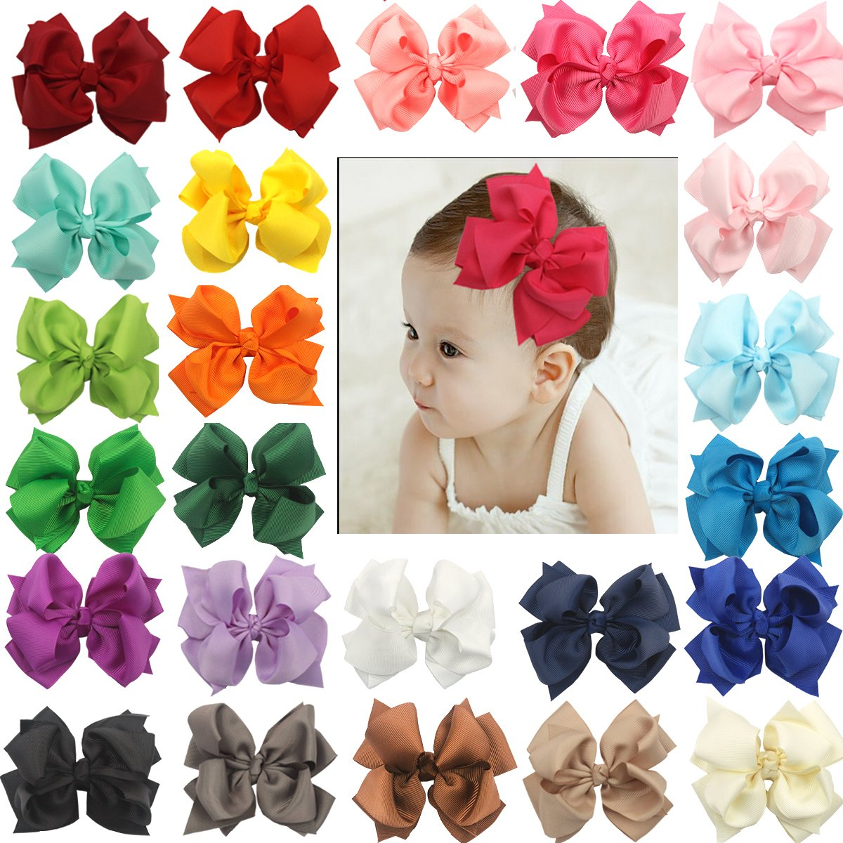 "25Pcs Boutique Girls Kids Children 4"" Double Layer Grosgrain Ribbon Hair Bows Pinwheel Alligator Clips Hairpins"