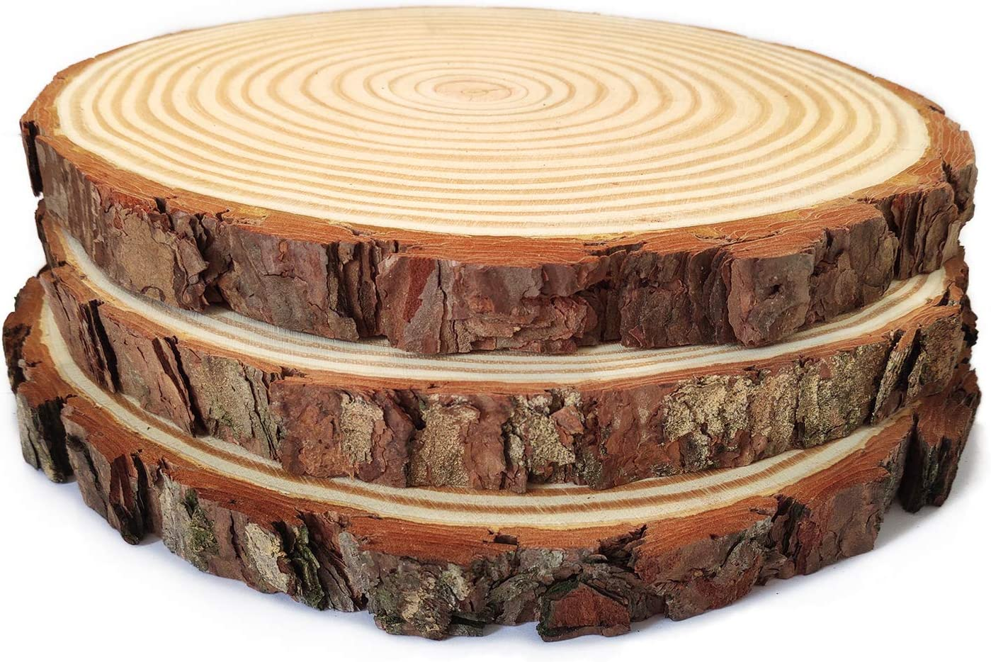 Pine Wood Slices 3 Pack, 9-10inch for Crafts Cake Stand Art Accent Table Disks Display Name Tags Sign Round