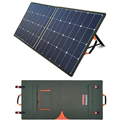 AIMTOM SolarPal 100W Portable Solar Panel for Power Station, Solar Generator, Phone and Laptop, Foldable Solar Power Charger for Camping, RV, Home with QC USB, 18V DC Port and MC-4 Output: Garden & Outdoor