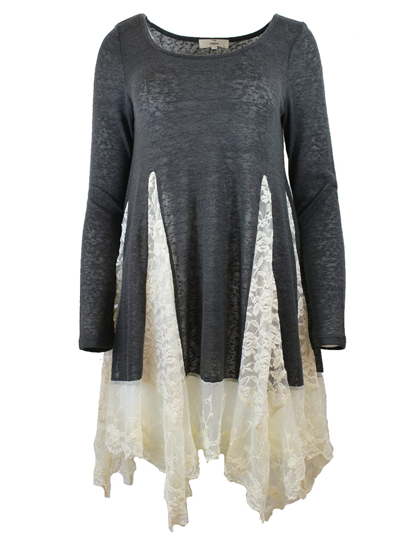 Illibox Womens Chic Handkerchief Detailed Flare Long Sleeve Knit Top