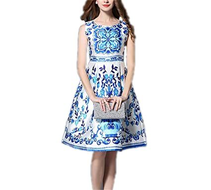 689e1622349 Foxinjishuc Print Dress Women Dresses Blue and White Porcelain Round Neck  Sexy Party Plus Size A