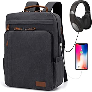 Estarer Travel Laptop Backpack with USB Charging Port, Water Resistant Canvas 17-17.3 Inch Computer Bag for Business/College/Women/Men