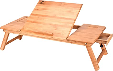 """Bamboo Laptop Desk,Large Right-Left Handed Adjustable Portable Breakfast Serving Bed Lap Tray Table with Tilting Top Storage Drawer Size 29.7"""" x 13.8"""""""