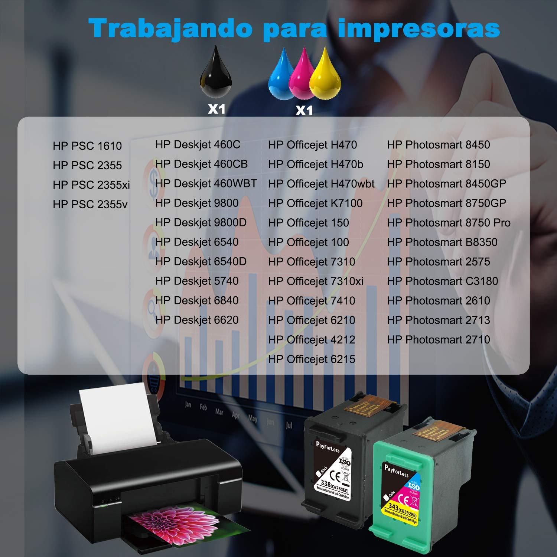 PayForLess 338XL 343XL Cartuchos de Tinta Compatible para HP ...