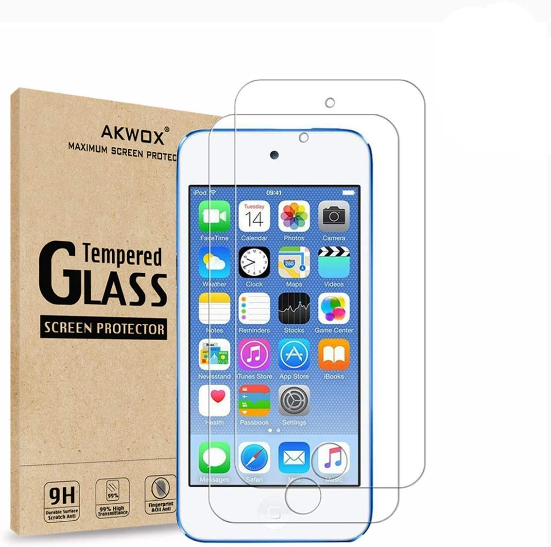 (Pack of 2) [Tempered Glass] Screen Protector for iPod Touch 6G (6th Generation) / 5G (5th Generation), Akwox [0.33mm Ultra Thin 9H Hardness 2.5D Round Edge] with Lifetime Replacement Warranty