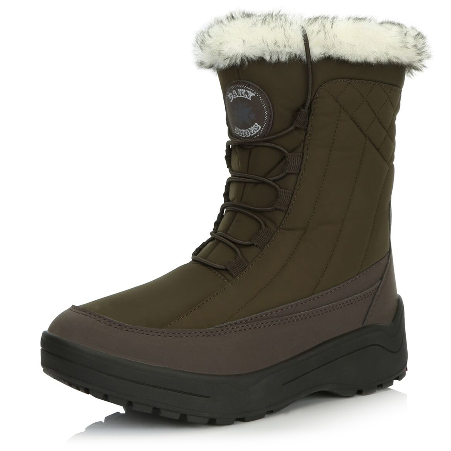 DailyShoes Alaska05 8'' Ankle Snow Boots Boot Winter Warm Short Lace Up Zippered Backpacking Cute Shoes Mid Calf Booties with Fur Trim Alaska-05 Brown Nylon 11 by DailyShoes