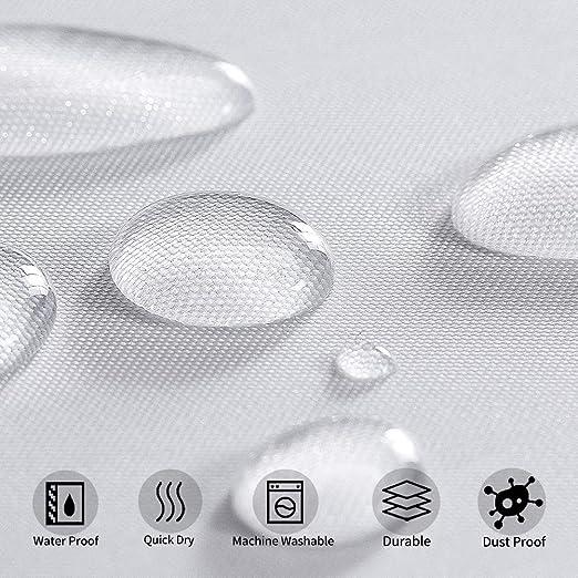 Furlinic Cortina Ducha Antimoho con Impermeable Blanco Cortinas Ba/ño de Ojetes Tela Poli/éster Lavable con Ventana Visillo Transparente para Ba/ñera Cuarto de Ba/ño 150x180cm