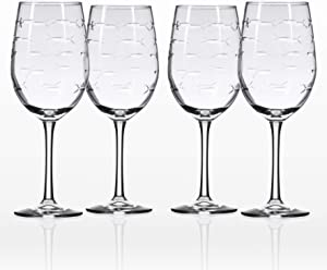 Rolf Glass School of Fish White Wine Glass 12 ounce - Stemmed Wine Glass Set of 4 - Lead Free Crystal - Diamond Wheel Etched Wine Glasses - Made in the USA