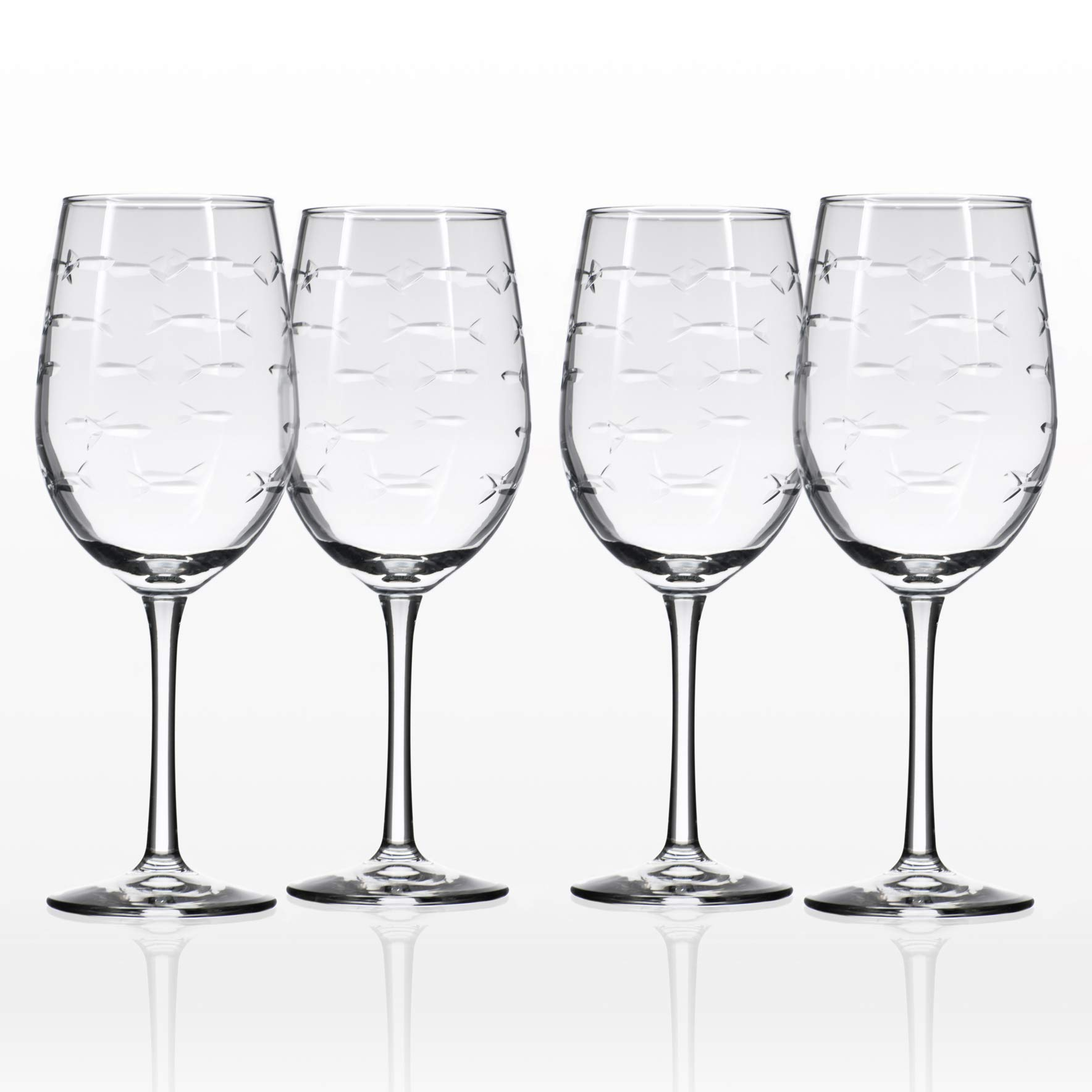Rolf Glass School of Fish White Wine Glass 12 ounces Set of 4