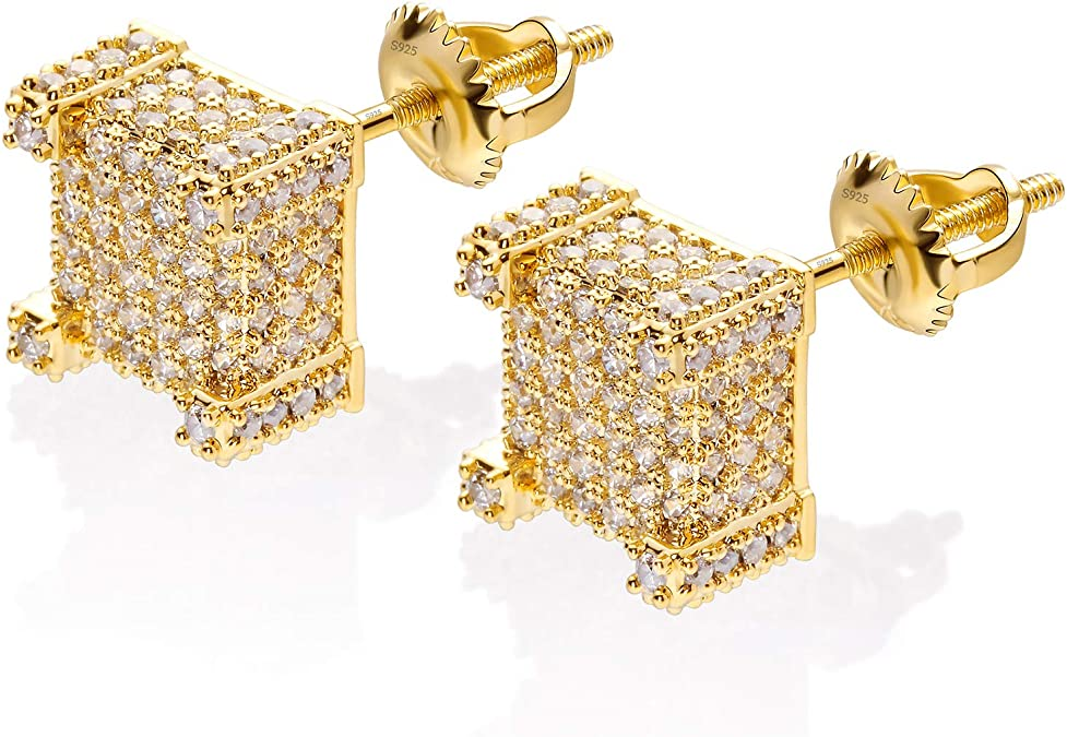 Men Women Earrings Kite Iced Studs Gold Plated Hip Hop Fashion Stainless Steel