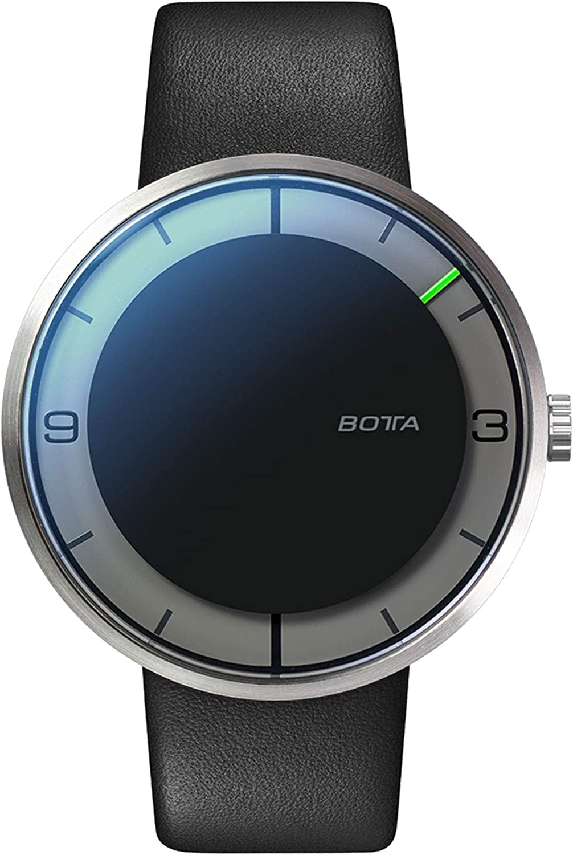 Botta Diseño de Nova + Carbon automático Reloj de Pulsera Reloj–einzeiger, Acero Inoxidable, Esfera Negra, Correa de Piel