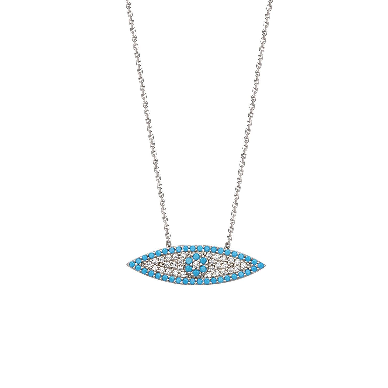 DiamondJewelryNY Silver Pendant Elongated Cz Evil Eye Necklace