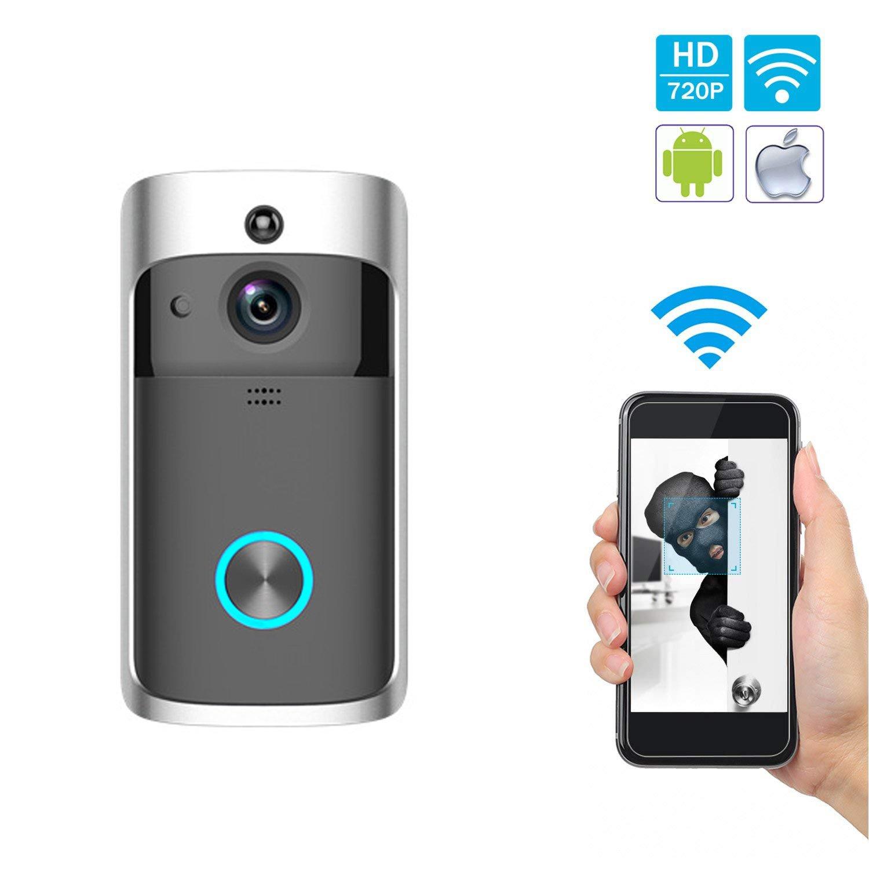 Video-Türklingel, Smart Türklingel 720P HD WiFi Überwachungskamera, Echtzeit-Doppel-Talk und Video, Nachtsicht, Bewegungserkennung, WLAN, PIR-Bewegungserkennung und iOS Android-Anwendung zu steuern