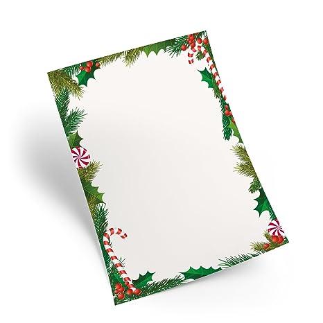 25 Feuilles De Papier Din A4 Noël Lettre Papier Blanc Rouge Vert