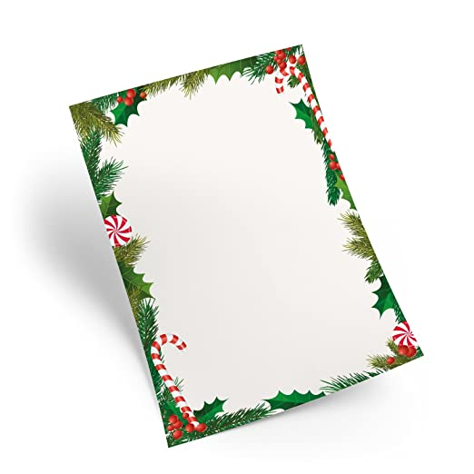 25 Blatt Weihnachtspapier Weiß Rot Grün Briefpapier Din A4
