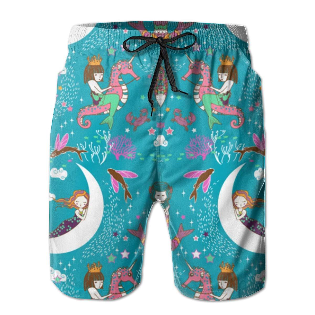 Mermaid Lullaby Small Mens Board Shorts Swim Mesh Lining and Side Pocket