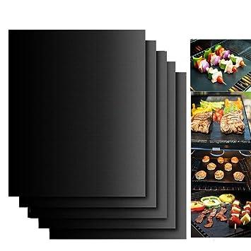Estera para Parrilla de Barbacoa, 4 Piezas Láminas Antiadherentes láminas Resistentes al calor para horno, grill, parrilla y barbacoa 40*33CM
