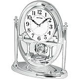 RHYTHM Horloge de cheminée avec pendule mobile effet cristal Argent