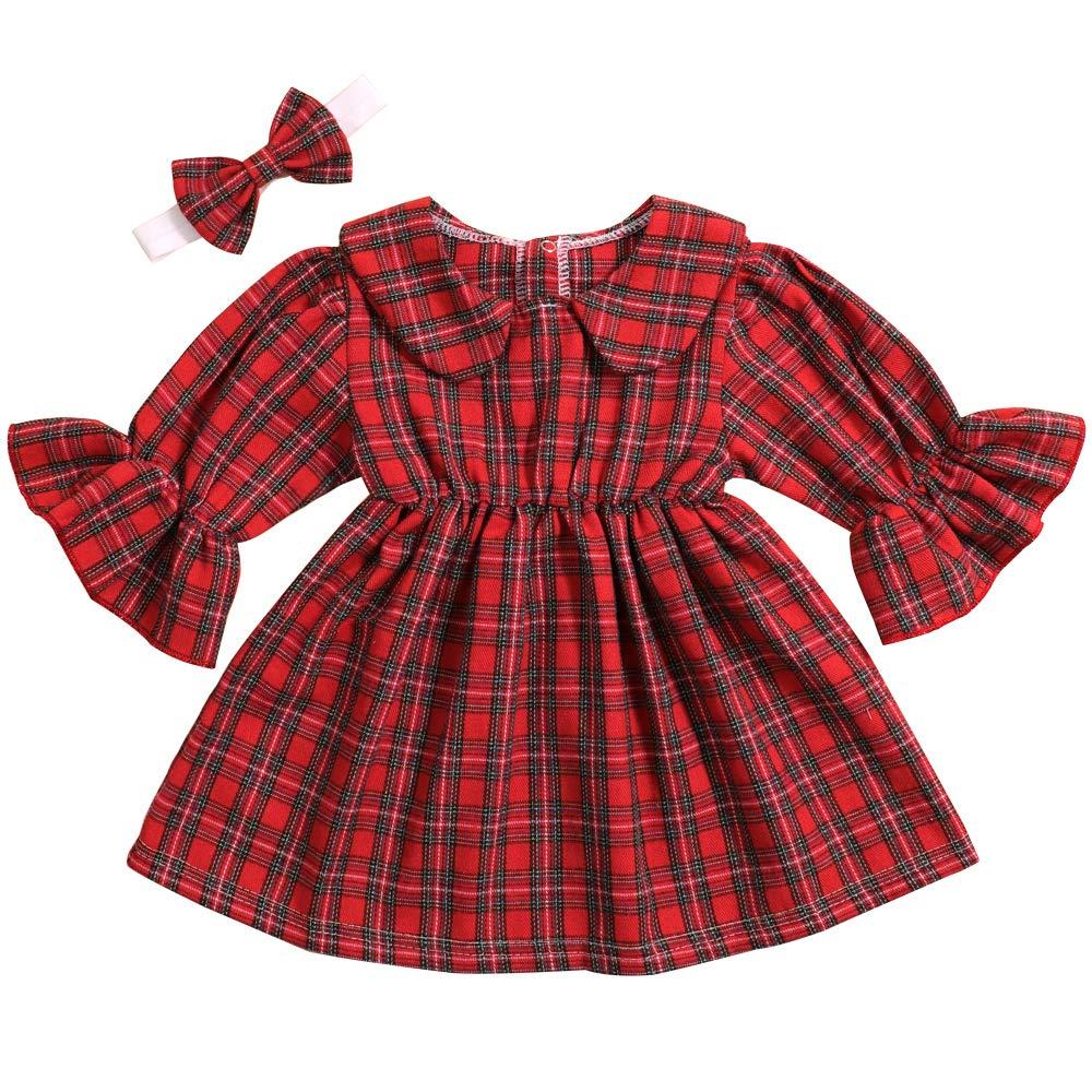 Toddler Baby Girls Dress Skirt Ruffle Tops Sets Headband Kids Dresses Easter Costume Infant 2pcs Outfits