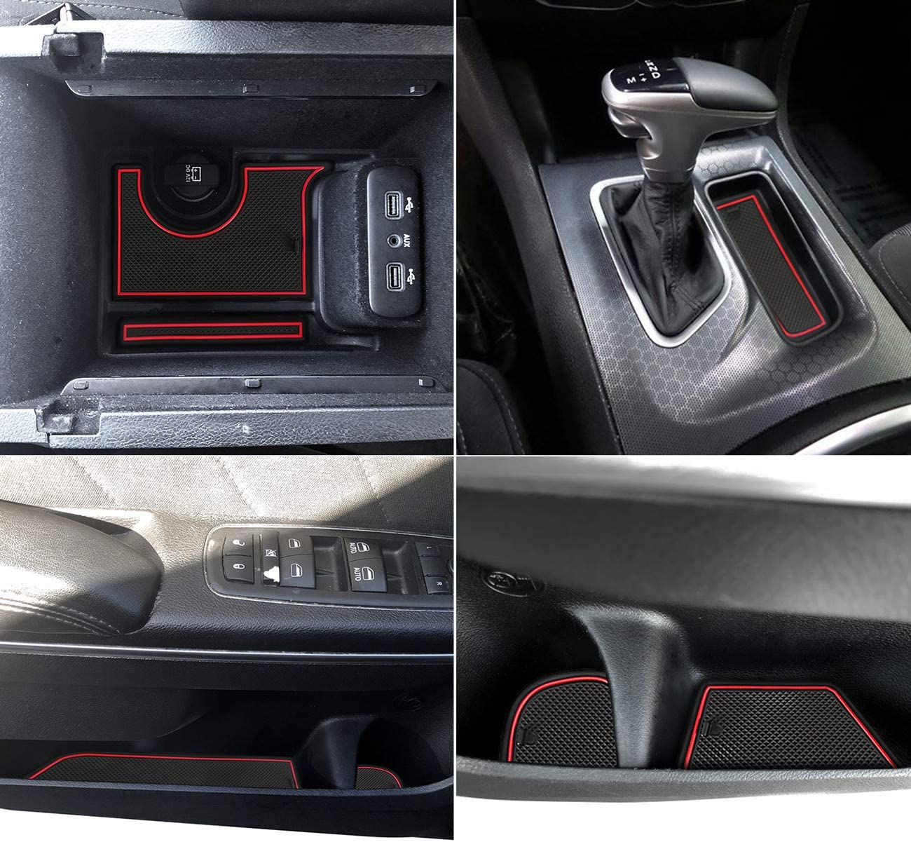 JOJOY LUX 22 pcs Custom Fit Cup Red Trim and Console Interior Liner Accessories for 2015-2020 Dodge Charger,Cup Holder Insert /& Center Console Shifter Liner Trim Mats Door