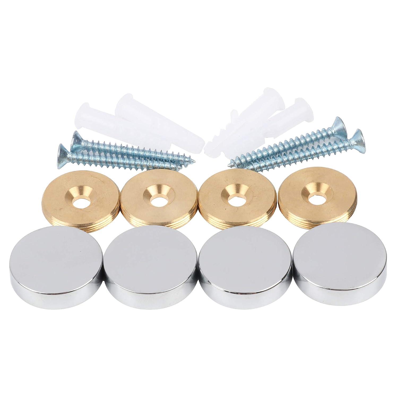 Mirror Screws, Brass Cap Decorative Mirror Nails, Φ 15mm, Polished Chrome, 4 PCS Φ 15mm Malleable