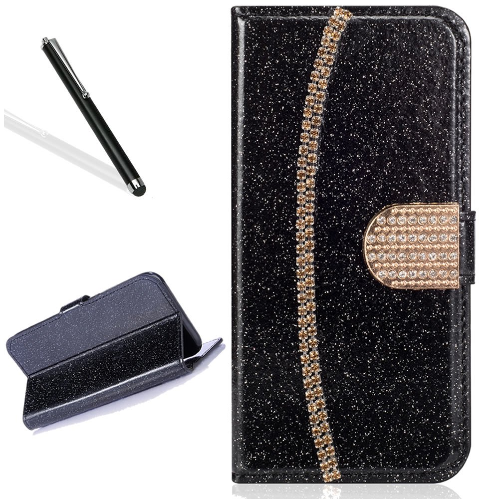 Galaxy S8 Plus Wallet Case,Bling Glitter Folio Case for Samsung S8 Plus,Leecase Luxury Noble Sparkle Shining Gold Chain Design Cover for Samsung Galaxy S8 Plus