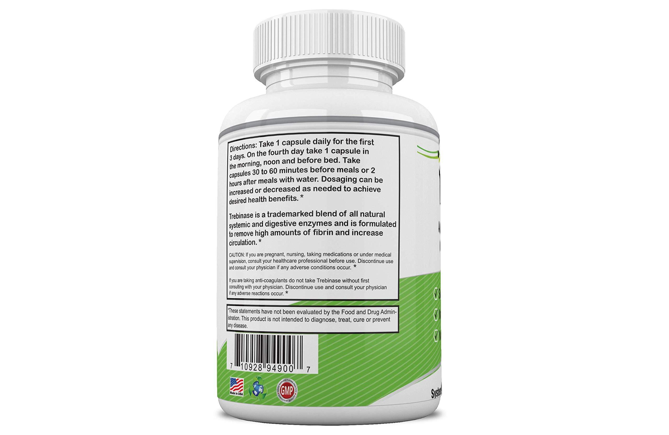 Trebinase 320,000 FU's Per Capsule Advanced Systemic Enzyme Blend of Serrapeptase, Nattokinase & Seaprose Plus Co-Enzymes - Dissolve Scar Tissue Quickly.- 99.99% Pure Pharmaceutical Grade Enzymes by Trebinase (Image #1)