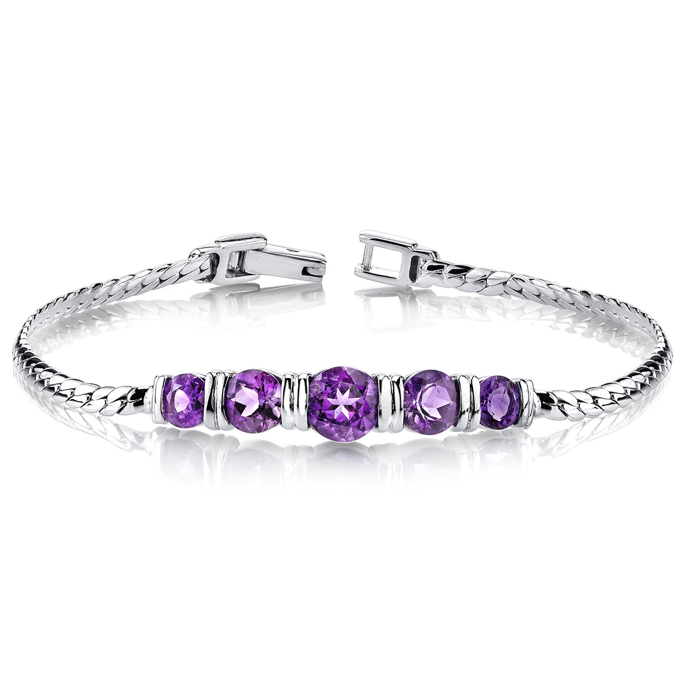 Amethyst Bracelet Sterling Silver 3.75 Carats 5 Stone Design by Peora