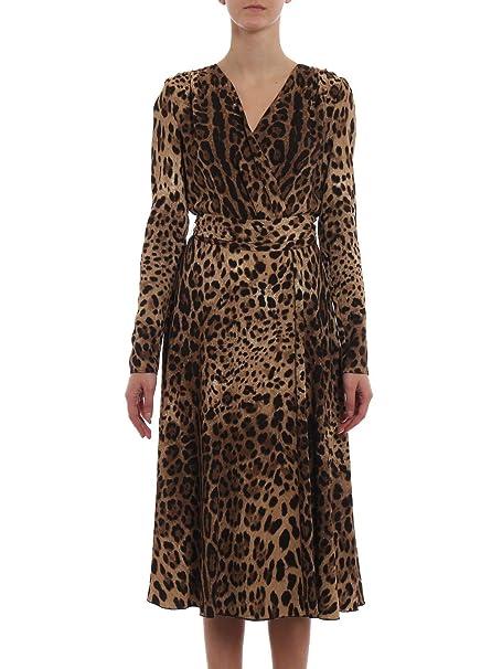 Dolce E Gabbana Vestito Donna F69F3TFSRKIHY13M Seta Marrone  Amazon.it   Abbigliamento 3726ac4bc14