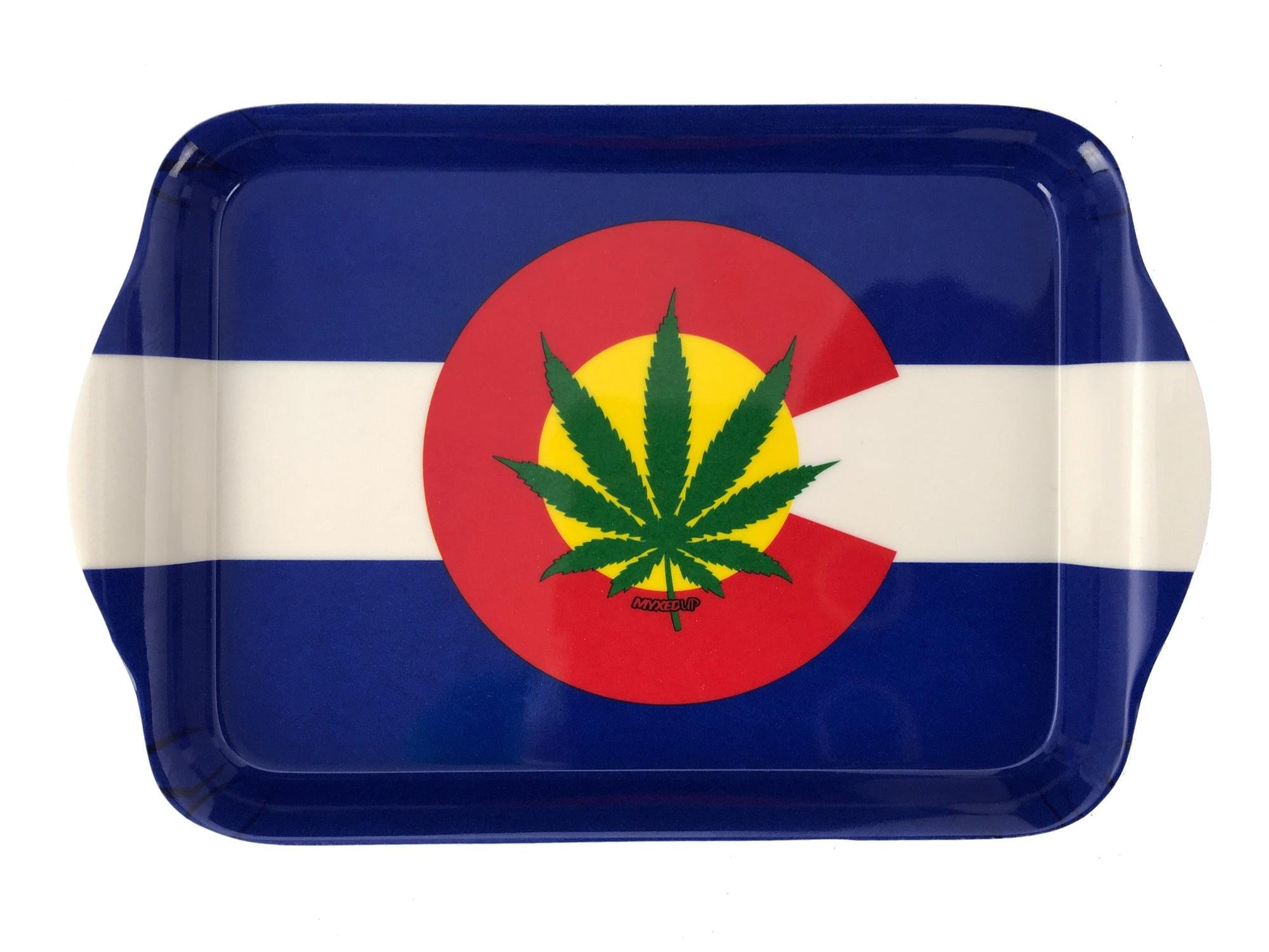 Colorado Flag Pot Leaf Myxed Up Tobacco Rolling Tray (Large)