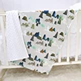 Baby Blanket for Baby Kids Super Soft Minky Blanket with Dotted Backing, Toddler Blanket with Mountain Multicolor Printed