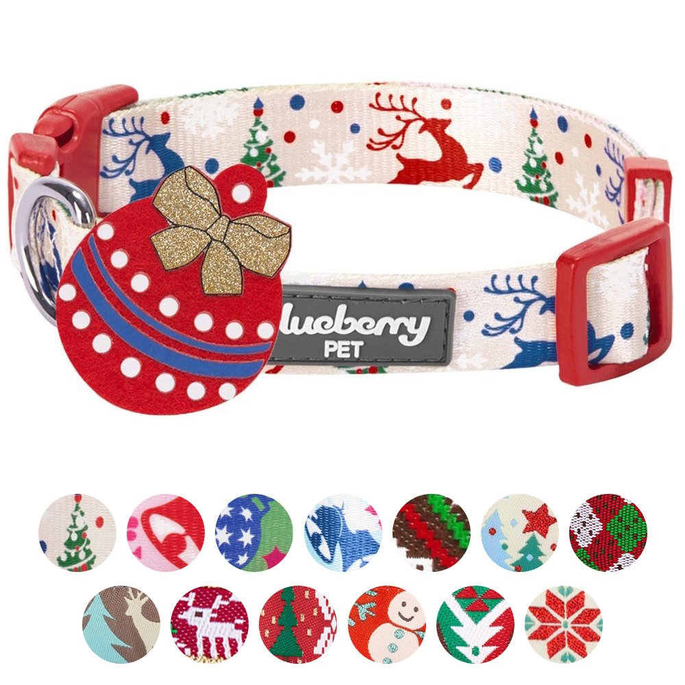 Blueberry Pet 14 Patterns Christmas Holiday Excellence Magical Joy Designer Dog Collar, Small, Neck 12''-16'', Adjustable Collars Dogs