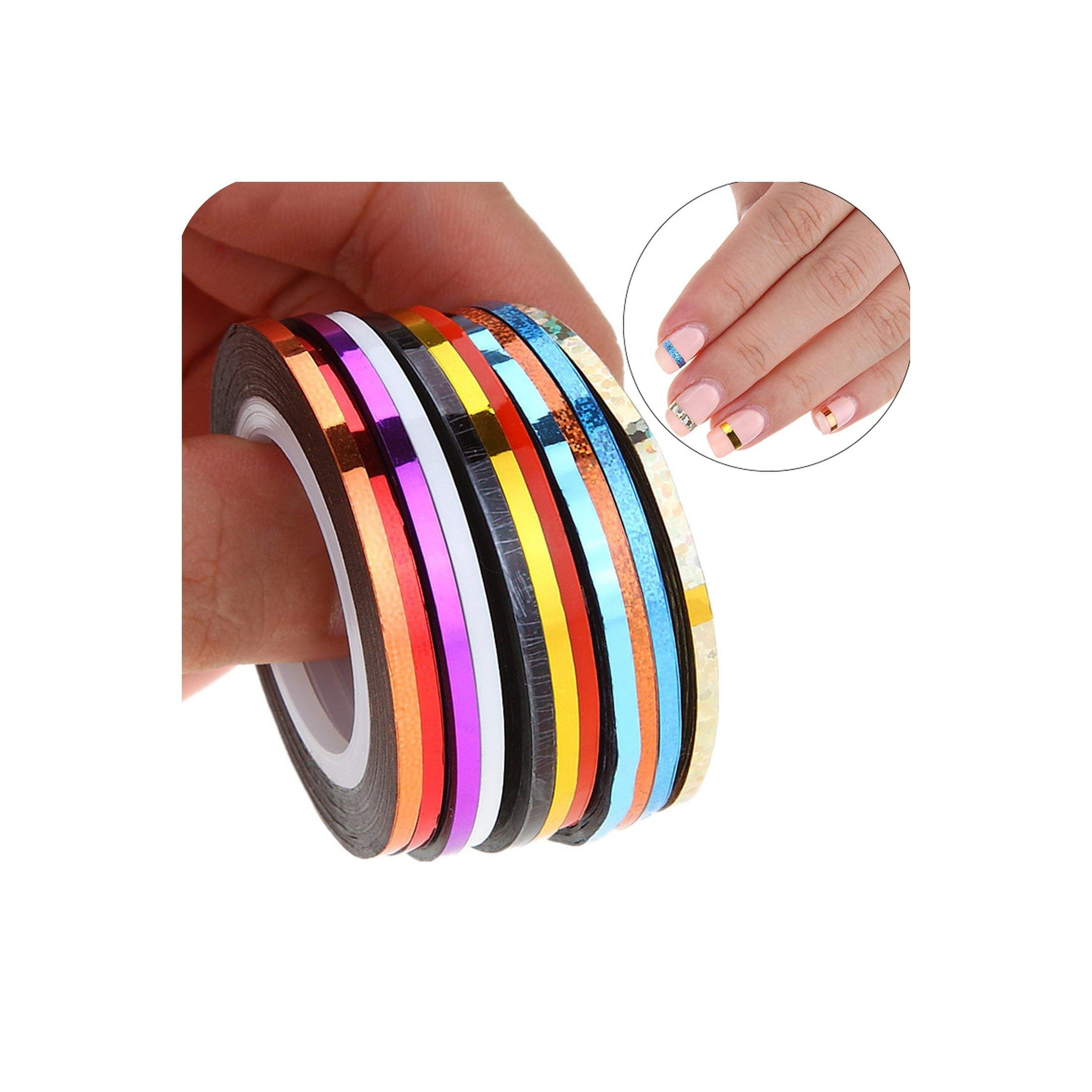 10Pcs 2Mm Mix Colors Rolls Metallic Adhesive Striping Tape Wide Line Diy Nail Art Tips Strip Sticker Decal Decoration Kit,as show by Mango-ice