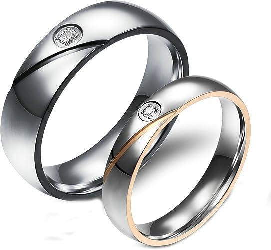Amazon Com Aooaz 2 Pcs Rings Wedding Bands Engagement Rings