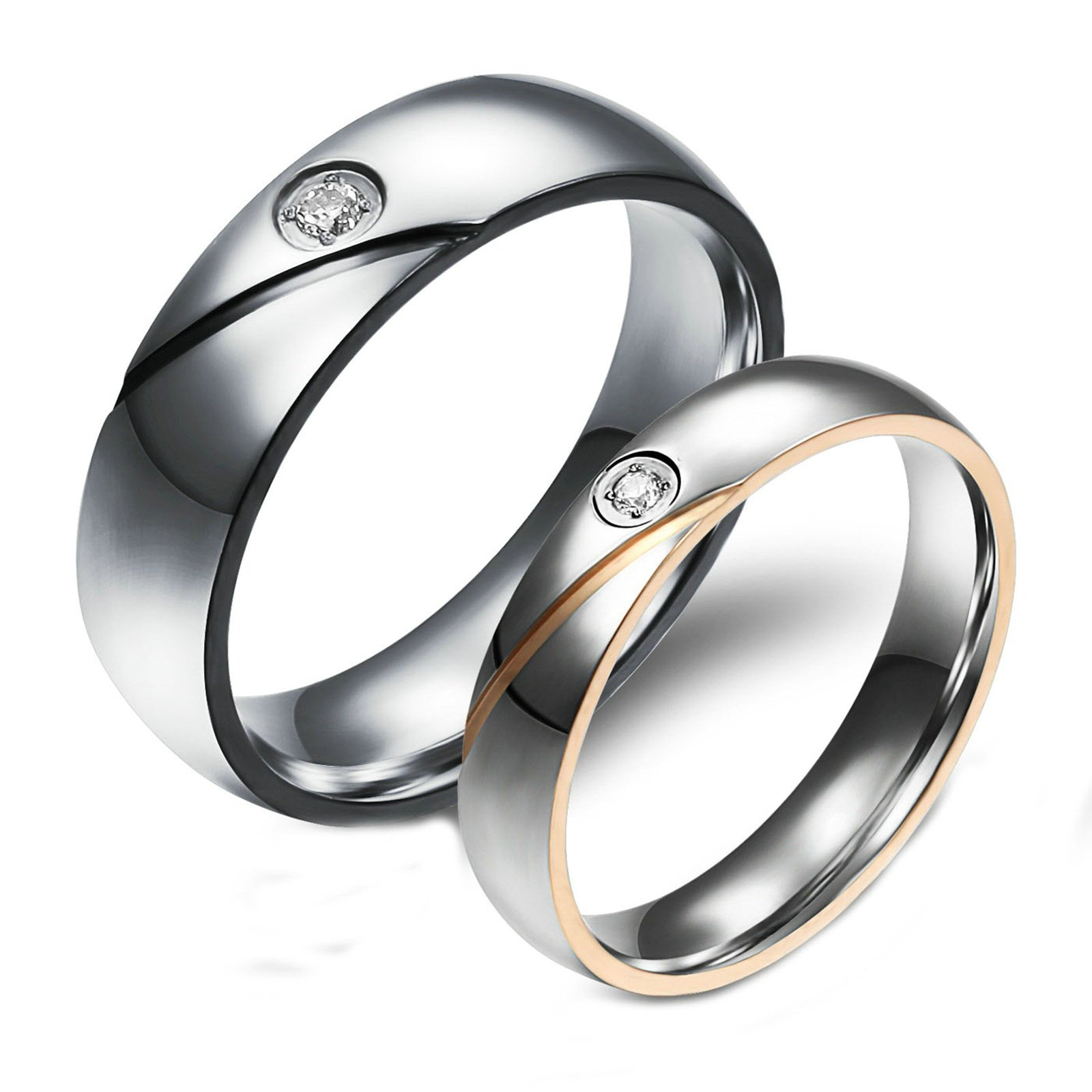 Aooaz 2 Pcs Rings Wedding Bands Engagement Rings Friendship Rings Black Gold Cubic Zirconia Rings With Free Engraving Womens 5 & Men 10 Novelty Jewelry Gift