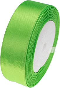 ATRibbons 50 Yards 1 Inch Wide Satin Ribbon Perfect for Wedding,Handmade Bows and Gift Wrapping,25 Yards/Roll x 2 Rolls (Apple Green)