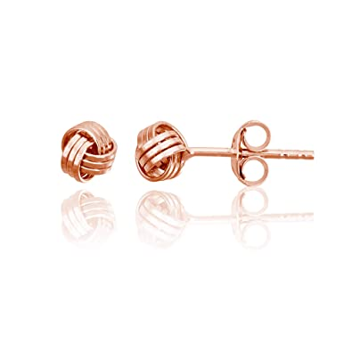 409c217e4 Amazon.com: 925 Sterling Silver 5mm Rose Polished Love Knot Stud ...