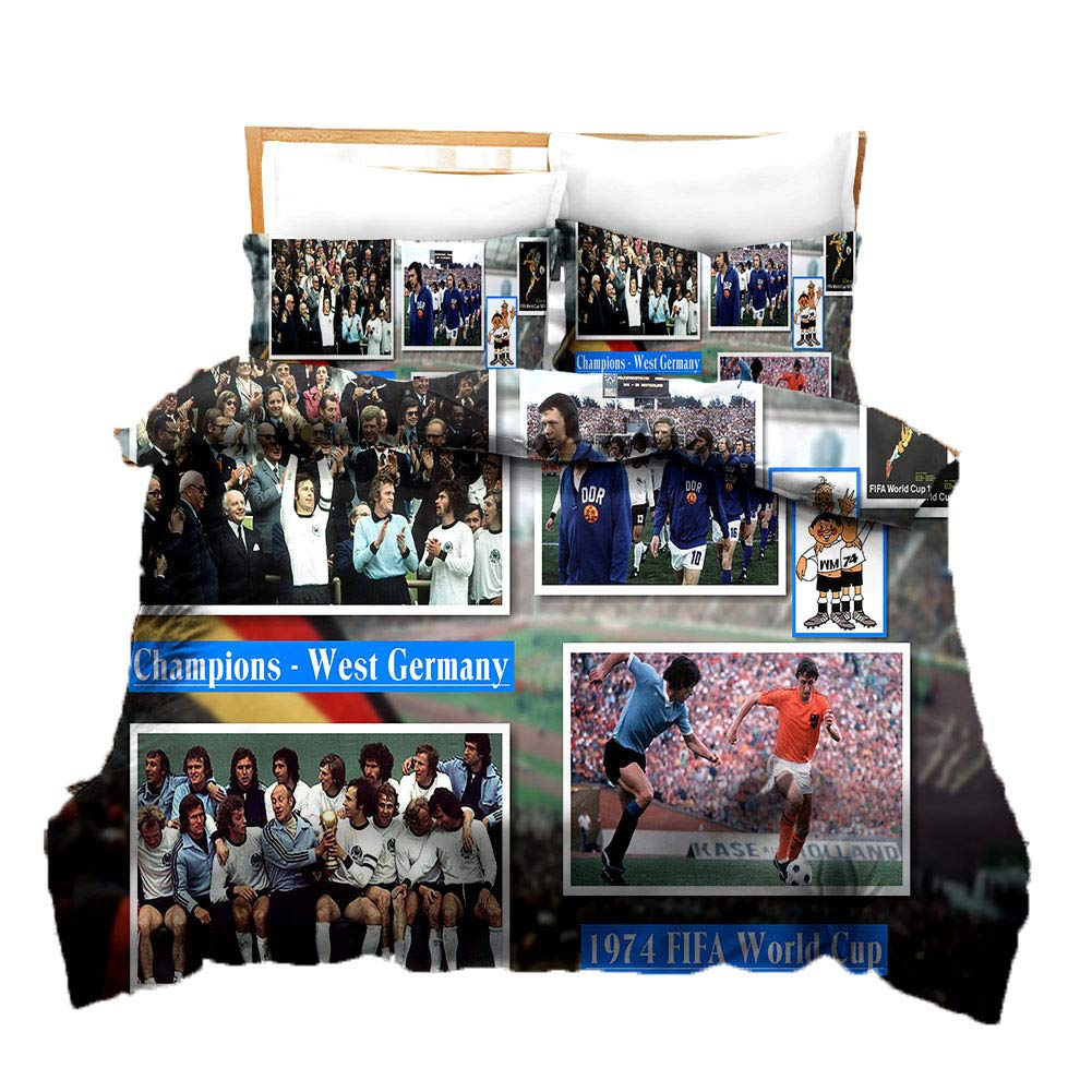 BeddingHome 3D FIFA World Cup Champion Country Team Duvet Cover Set Fashion Microfiber Bedding Set for Football Fans,Twin