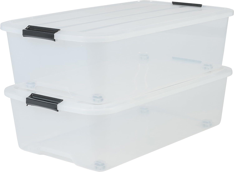 Iris Ohyama, lote de 2 cajas de almacenamiento debajo de la cama con ruleta - Top Box - TBU-40, plástico, transparente, 40 L, 68 x 39 x 19.3 cm
