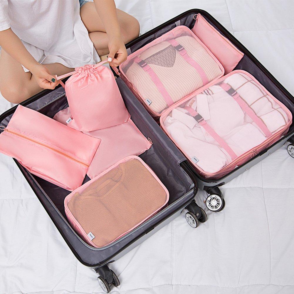 BEARCOLO en Maille Filet /à Bagages Emballage Cube Sacs de Lot de l/éger Valise Pochettes de Compression pour v/êtements sous-v/êtements Chaussures de Stockage de Toilette Lot de 7