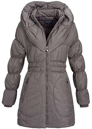 101fc242079d59 Seventyseven Lifestyle Damen Jacke Mantel Winterjacke mit großem Kragen  gesteppt grau braun: Amazon.de: Bekleidung