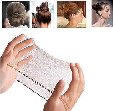 50PCS Hair Nets Invisible Elastic Edge Mesh Bun Hair Nets for Ballet Dance 20 Brown