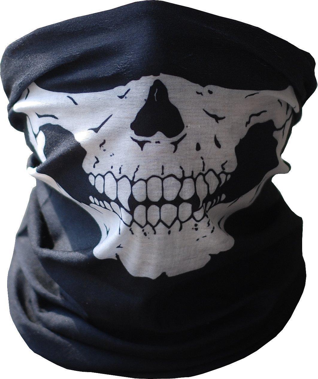 GODHL Skeleton Skull Half Face Neck Bandana Mask Scarf Rave Mask Black