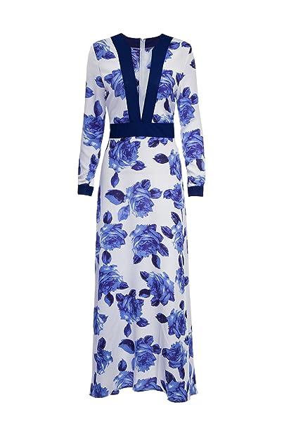 Fasumava Las Mujeres Vestido De Verano Casual Bohemio Floral Print Swing Maxi Vestidos Blue S