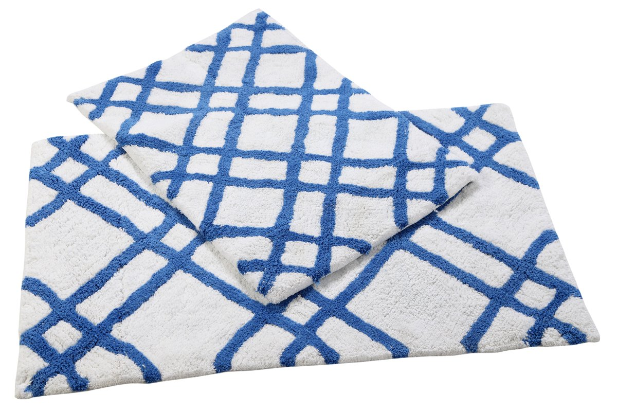 2100 GSM 100% Cotton Bath Mats 2 Piece Set - Soft, Absorbent Non-Skid and Machine Washable Cotton Bath Rugs - (2 piece bathroom rugs set) Blue Bath mat Size 17 x 24/21 x 34 Inch by Homefair Linens