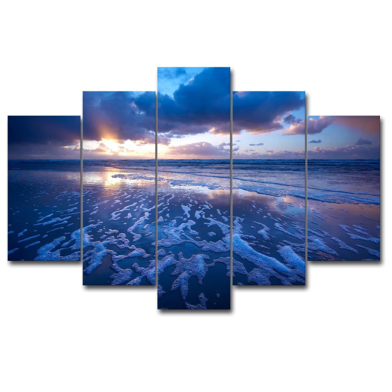 【リブラLibra】 5パネルセット アートパネル インテリアアート 海の景色 キャンバス絵画 (木枠付きの完成品) (L, RA0667) B078VQLXD9 Large RA0667 RA0667 Large