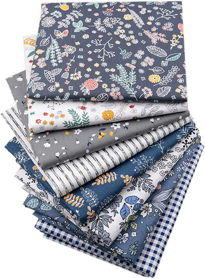 Hanjunzhao Checked Striped Floral Quilting Fabric, Dark Blue Gray Fat Quarters Fabric Bundles,18 x 22 inches