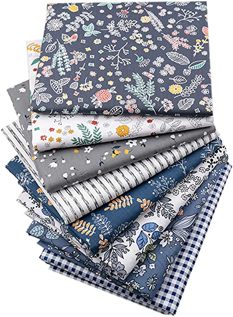 Fat Quarter Village and Trees Blue Cotton Sewing Quilting Fabric